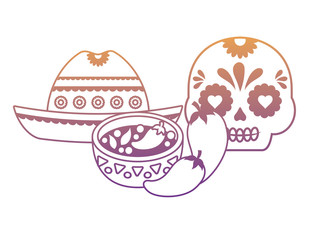 Mexican hat and sugar skull with mexican food over white background, vector illustration