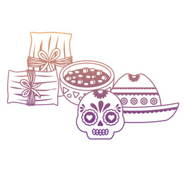 Mexican hat with mexican food and culture related icons over white background, vector illustration