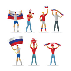 Russia football fans. Cheerful soccer supporters crowd.