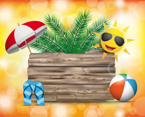 Wooden Board Summer Sun Orange Bokeh