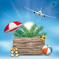Sky Clouds Sun Wooden Board Flip-Flops Sunshade Palm Plane