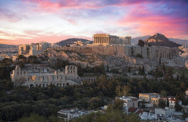 Akropolis von Athen bei Sonnenuntergang Fototapete