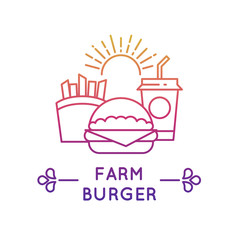 Fast food restaurant and cafe vector logo. Fresh burger, drink and potato