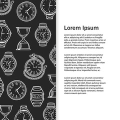 Sketch watches, alarm clocks banner template