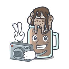Photographer milkshake mascot cartoon style