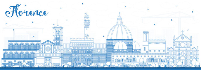 Fotobehang - Outline Florence Italy City Skyline with Blue Buildings.