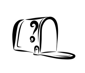 Open empty mailbox, black sketch
