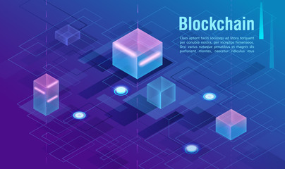 Cryptocurrency and blockchain concept, data powered center, cloud data storage isometric vector illustration. Web design, presentation banner.