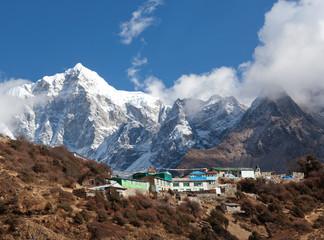 Mount Thamserku and village on the way to Everest base camp, Nepal Himalaya