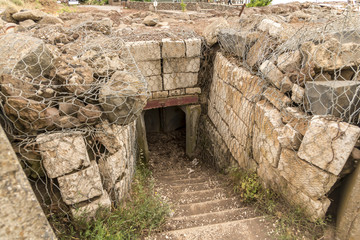 Military bunker entrance on Mount Bental on the Israeli Syrian border