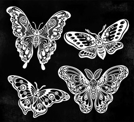 A collection of butterflies or moths. A set of fantasy style ornate insects