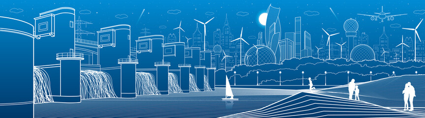 City infrastructure industrial and energy illustration panorama. Hydro power plant. River Dam. People walking. Airplane fly. White lines on blue background. Vector design art Wall mural