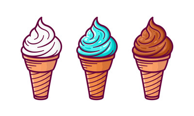 Ice cream in the waffle cone with vanilla, chocolate and pistachio taste isolated on white background. Set of vector flat outline icons. Cute cartoon style illustration for product design