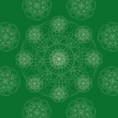 Geometric ornament. Green arabesque.