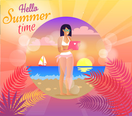Hello Summer Time Poster, Vector Illustration