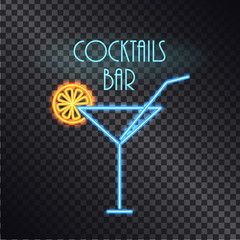 Coktails Bar Neon Poster Color Vector Illustration