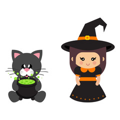 cartoon cute witch and cat black sitting with cauldron