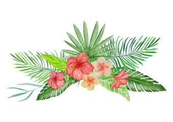 Watercolor bouquet with tropical flowers.