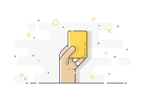 Yellow card in hand. Referee hand holding yellow card. Trendy flat vector on white background.