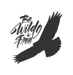 Vector illustration: Handwritten brush lettering of Be Wild and Free with silhouette of flying hawk