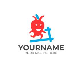Cartoon character heart, running on treadmill, logo template. Sport, healthy lifestyle and human organ, vector design. Medical illustration