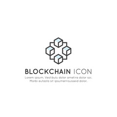 Vector Icon Style Illustration of Blockchain Cryptocurrency Exchange, Buying and Selling, Continuously Growing List of Records Concept. Minimalistic Outline Logo
