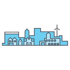 Village skyline line icon, vector illustration. Village skyline flat concept sign.