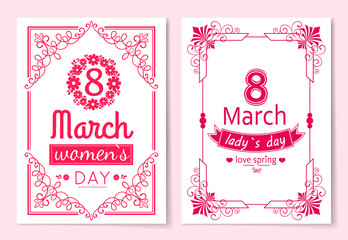 Womens Day Postcard with Big Sign and Swirly Frame