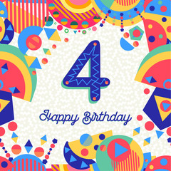 Four 4 year birthday party greeting card number