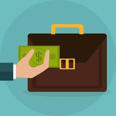 hand lifting portfolio with bills dollars money vector illustration design