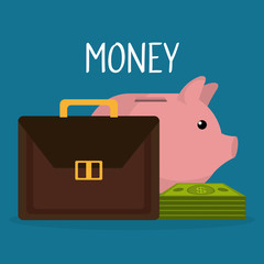 portfolio with bills and piggy money vector illustration design