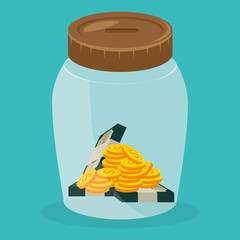 jar with coins and bills dollars money vector illustration design