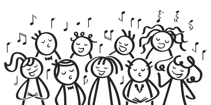 Chor, Gesangsgruppe, Männer und Frauen singen gemeinsam, lustige Strichfiguren singen ein Lied