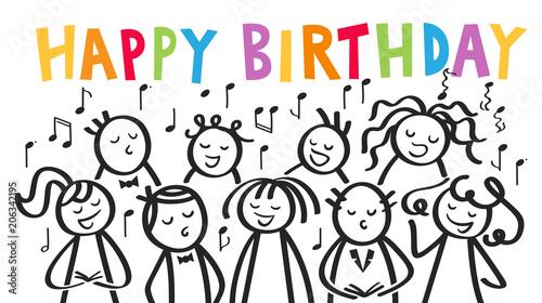 Geburtstagskarte Chor Manner Und Frauen Singen Gemeinsam Happy