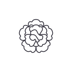 Floral carnation line icon, vector illustration. Floral carnation flat concept sign.
