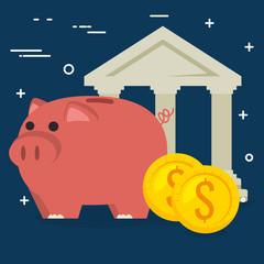 piggy savings with bank building vector illustration design