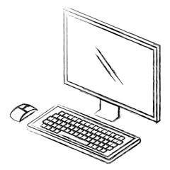 desktop computer isometric icon vector illustration design