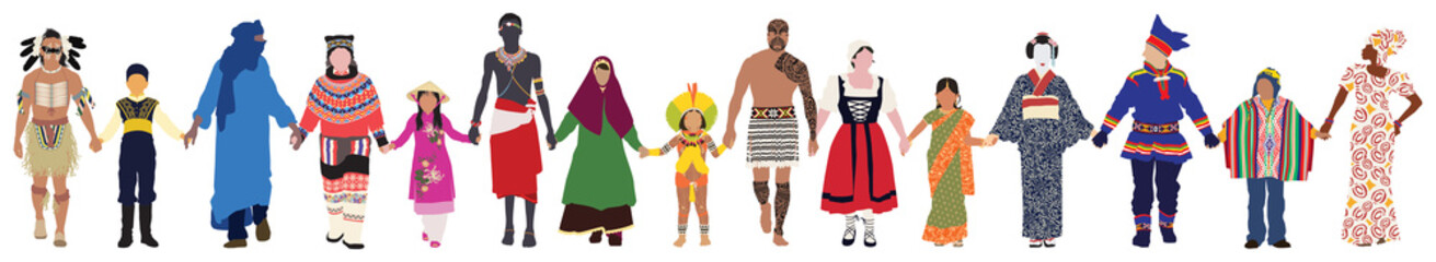 Vector people of different ages, races and genders in their traditional clothing walk together peacefully hand in hand