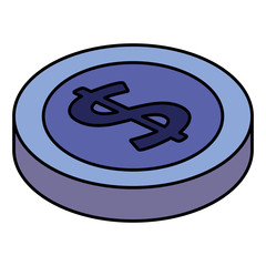 coin money isometric icon vector illustration design