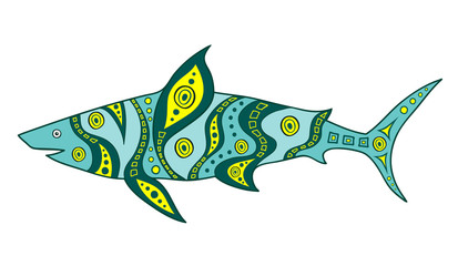 Hand-drawn abstract shark. Vector fish painted in ethnic style. Doodle Shark.