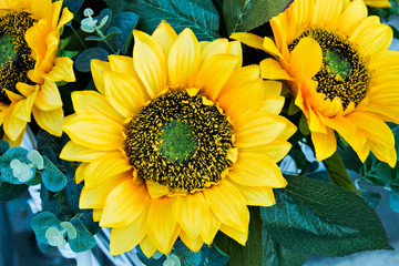 decorative sunflowers used in decoration of city streets