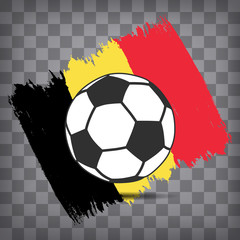 football ball icon on Belgian flag background from brush strokes