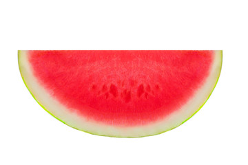 Slice watermelon fruit  isolated on a white background, close up. Seedless half of Watermelon .