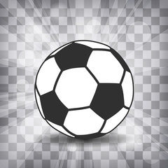 soccer ball icon with shadow and flash rays on a chequered backg