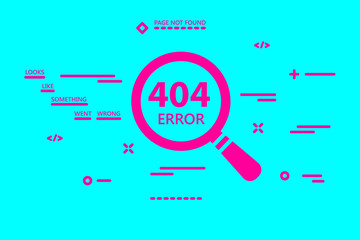 404 error page not found illustration with magnifying glass on b