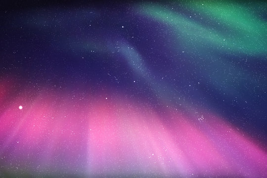 Vector illustration with beautiful starry sky and Northern lights. Abstract colorful background with purple-green aurora borealis