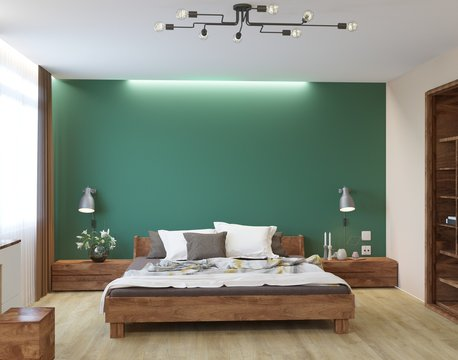 New eco style luxury bedroom with green wall