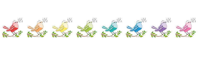Songbirds in a row like a c-major line - eight rainbow colored twittering and chirping and singing birds. Comic illustration on white background.