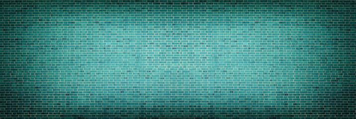 Wide dark turquoise brick wall - retro grunge background