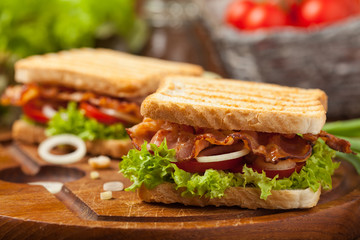 Photo on textile frame Snack Toasted sandwich with bacon, tomato, cucumber and lettuce.
